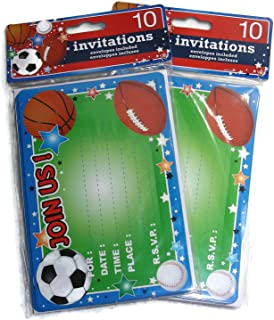 Kids Birthday Party Invitations - 20 Invitations Total (Sports Themed: Soccer, Baseball, Football, Basketball)