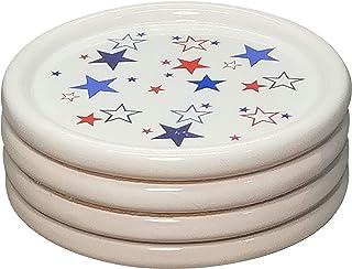 Telemit Ceramic Coaster with Unique Star Pattern Pack of 4 to Suit Coffee Mug Max 9.3cm Diameter. Gift Idea for Anniversar...