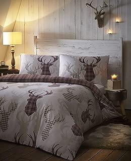 Tartan Stag Reversible Duvet Quilt Cover Bedding Set Natural - UK Double / US Full