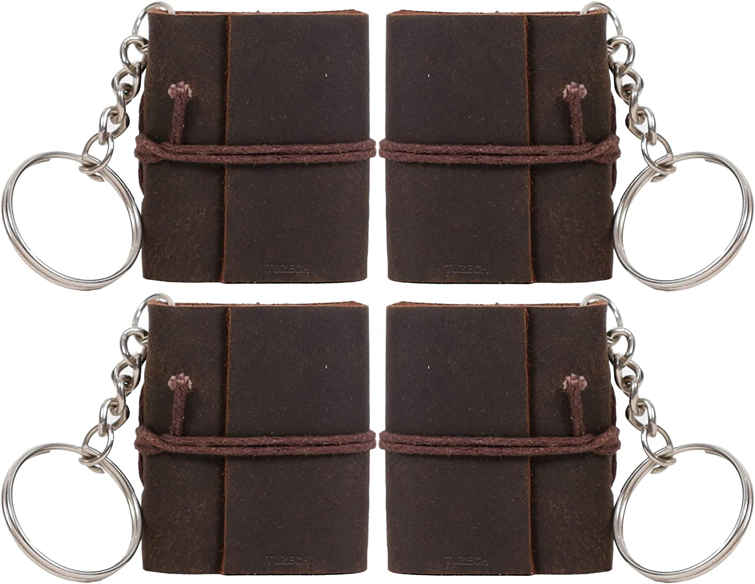 TUZECH Handmade Leather Mini Key Chain Diary Notebook Blank Unlined Diary for Office  Artist   Architect  Restaurants Vintage Journal for Men and Women - 2 Inches (Dark Brown) (Set of 4)