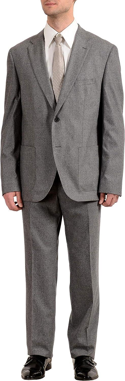 Hugo Boss Jalston/Lenon1 Men's Wool Cashmere Two Button Suit US 44R IT 54R Gray