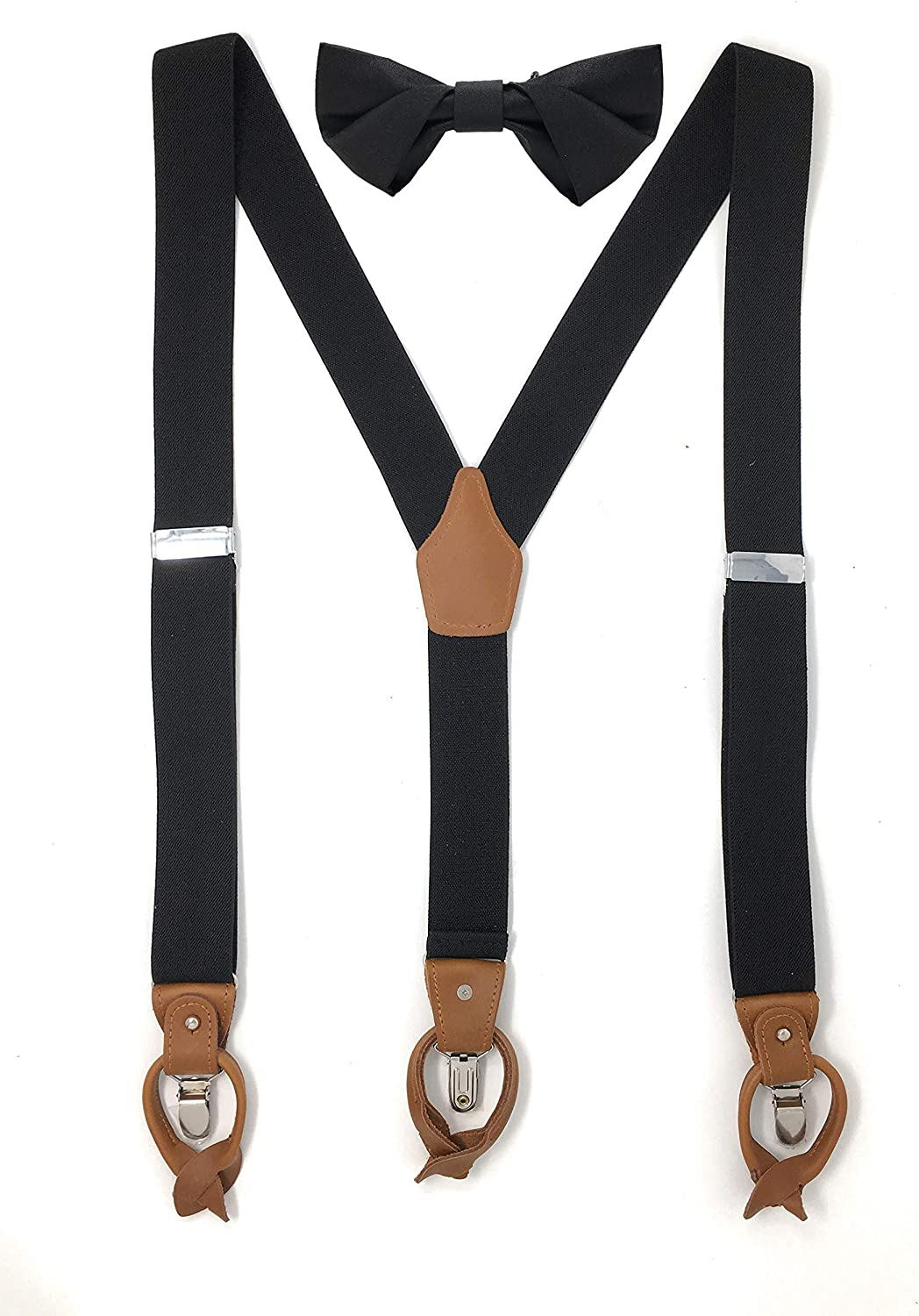 Lawevan Men's Y-shaped PU Leather Elastic Straps 3 Clips And Button Suspenders With Diamond Pointed Bowtie