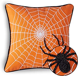 Cassiel Home Halloween Throw Pillow Covers 18X18 Black Spider on The Web Embroidery Pillow Cover Orange Halloween Decorations for Home Couch Sofa
