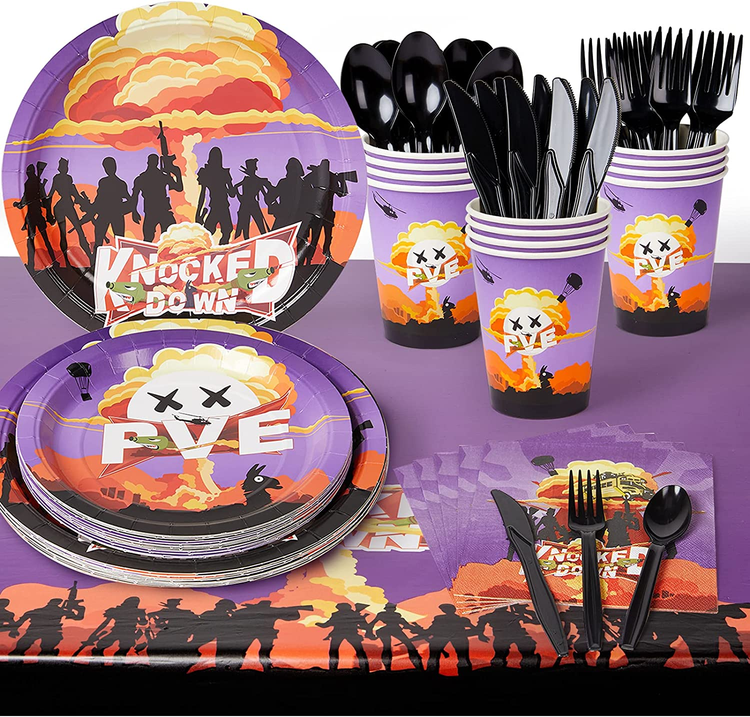 Decorlife 194PCS Fort High material Easy-to-use nite Party 16 Supplies Serves Game Video
