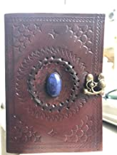 Vintage Embossed Handmade Leather Blue Stone 120 Page Unlined Journal with Clasp