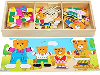 TOWO Wooden Bear Family Dress up Puzzle Box - Sorting and Matching Jigsaw Puzzle - Wooden Sorting Toys for 3 Year Old - Wooden Puzzles for 3 Years Old Girls