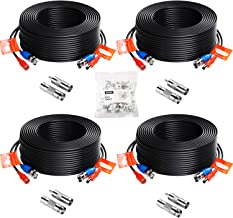 ZOSI 4 Pack 100ft (30 Meters) 2-in-1 Video Power Cable, BNC Extension Surveillance Camera Cables for Video Security Systems (Included 4X BNC Connectors and 4X RCA Adapters)