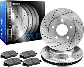 R1 Concepts CEDS10531 Eline Series Cross-Drilled Slotted Rotors And Ceramic Pads Kit Front and Rear