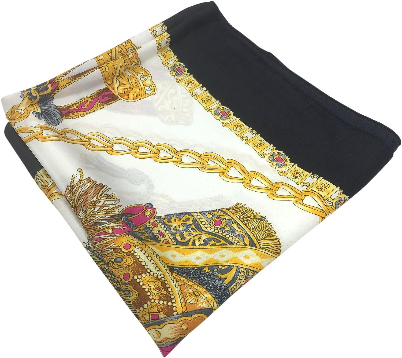 YOUR SMILE Silk Like Scarf Women's Fashion Pattern Large Square Satin Headscarf Headdress