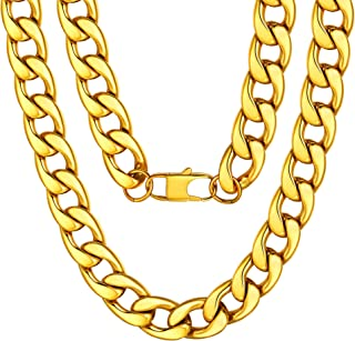 "ChainsPro Mens NK 1:1 Curb Chain Necklace, 5/9/12/15 MM Width, 18"" 20"" 22"" 24"" 26"" 28"" 30"" Length, Hip-Hop Cool Style, 316L Stainless Steel/18K Gold Plated-(with Gift Box)"