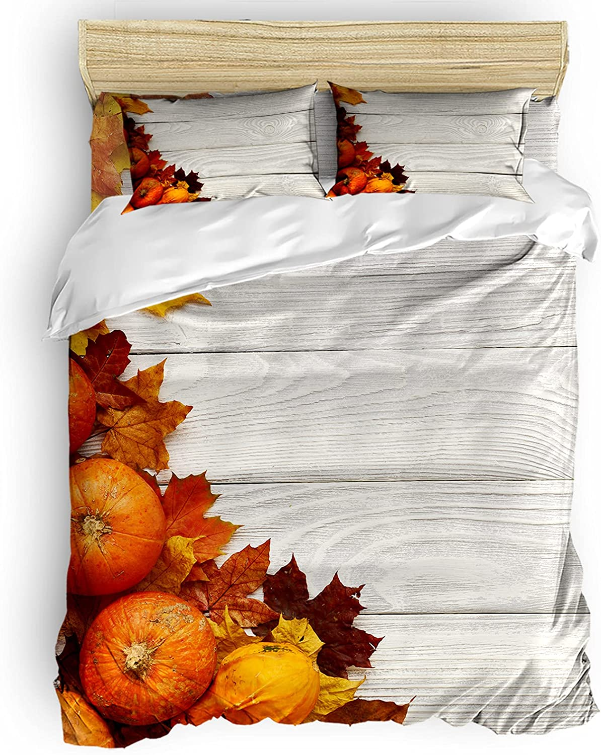 BABE MAPS Thanksgiving Duvet Max 90% Selling and selling OFF Covers Breathabl 4 Full Size Pieces