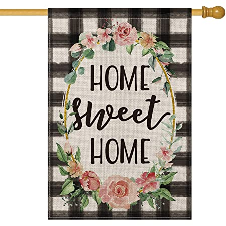 Amazon Com Blkwht Home Sweet Home Large House Flag Vertical Double Sided 28 X 40 Inch Spring Summer Yard Outdoor Decor Garden Outdoor