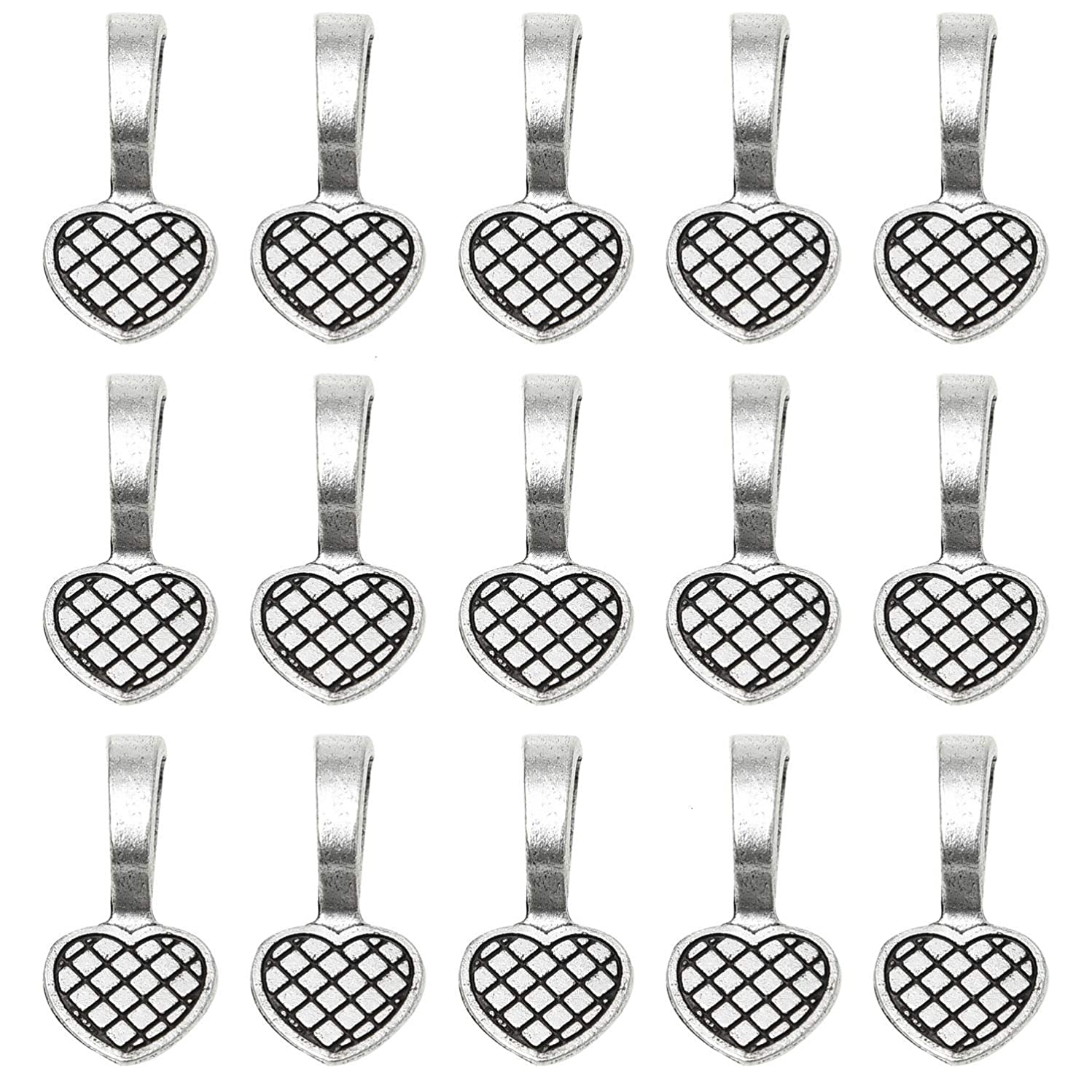 Monrocco 100 Pcs Antique Silver Glue on Heart Bails Jewelry Scrabble Glue On Earring Bails Glass Tiles Pendants for Jewelry Making