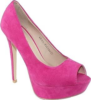 Women's Erika-1 Faux Suede Peep-Toe Platform High Heel Dress Pumps