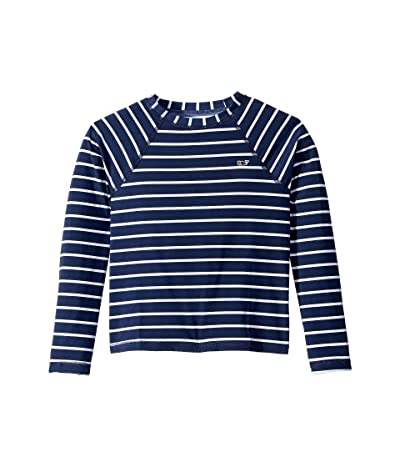 Vineyard Vines Kids Break Stripe Zip Rashguard (Toddler/Little Kids/Big Kids) (Deep Bay) Girl