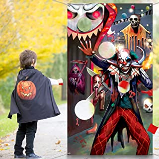 Carnival Evil Clown Bean Bag Toss Game with 3 Bean Bags, Halloween Carnival Evil Circus Theme Party Decorations and Supplies (Evil Clown)