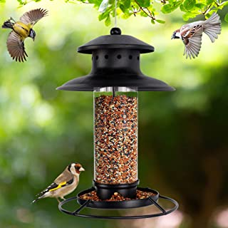 winemana Hanging Wild Bird Feeder, Lantern Shaped with Roof Outside Decoration, Perfect for Attracting Birds on Garden Yard