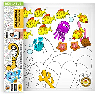 Inkmeo Wall Colouring Roll - Aquarium - Sea animals with Mermaid ! Reusable, Augmented Reality Enabled Learning Activity R...