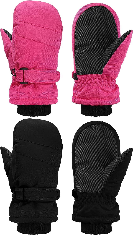 2 Pairs Kids Winter Ski Gloves Mitten Waterproof Warm Snow Gloves for Outdoor Activities