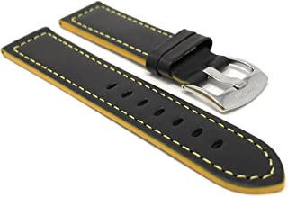 Mens Leather Watch Band Strap, Racer, Stainless Steel Buckle, Black with a Choice of 6 Different Colored Stitch (18mm, 20mm, 22mm, 24mm)