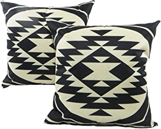 Seeking ROAM Decorative Accent Throw Pillow Covers, 18 x 18 Inch, 2 Covers with Zippers, Black and White Southwest Geometric Print