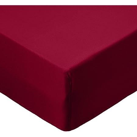 Amazon Basics Drap-housse en Microfibre Bordeaux 90x190x30cm
