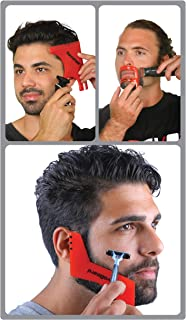 Revo Hair Goatee & Beard Trimmer Template - Mens Grooming Kit – Universal Size Haircut Shaving Set - Shaping Edge Up Barber Tool - Self Cut Stencil/Guide for Mustache & Hairline Lineup - Bundle Comb