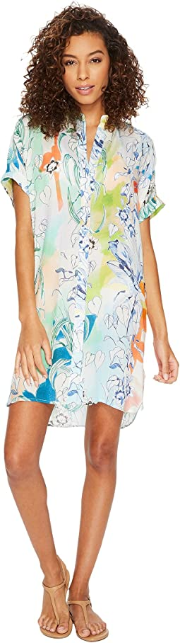 Echo Design - Seaside Floral Shirtdress Cover-Up