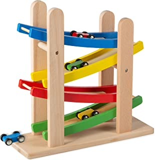 Play22 Wooden Car Ramps Race - 4 Level Toy Car Ramp Race Track Includes 4 Wooden Toy Cars - My First Baby Toys - Toddler Race Car Ramp Toy Set is A Great Gift for Boys and Girls - Original