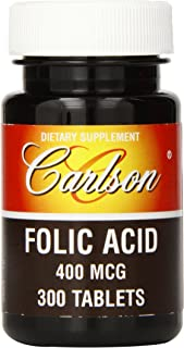 Carlson Labs Folic Acid, 400mcg, 300 Tablets