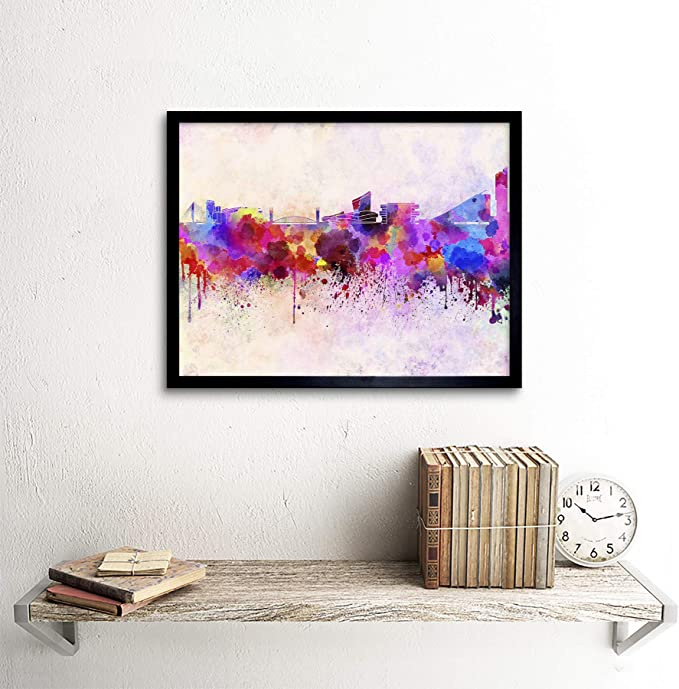 Painting Abstract Skyline Cityscape Paint Drip Style 12X16 Inch Framed Art Print