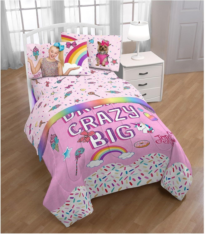 JoJo Siwa Rainbow Comforter Sheet Set and Bow Decor Pillow Set Twin Single Bed Girl Room (Pink Purple)