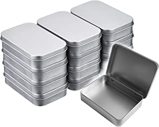 Walkingpround 12 Pack Empty Tin Box Storage Containers Metal Silver Rectangular Hinged Box for Candy Tins