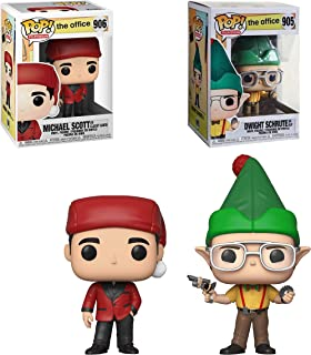 Funko Pop! Television: The Office Holiday Bundle with Dwight Schrute as Elf #905 and Michael Scott as Classy Santa #906 Collectible Vinyl Figures (2 Items)