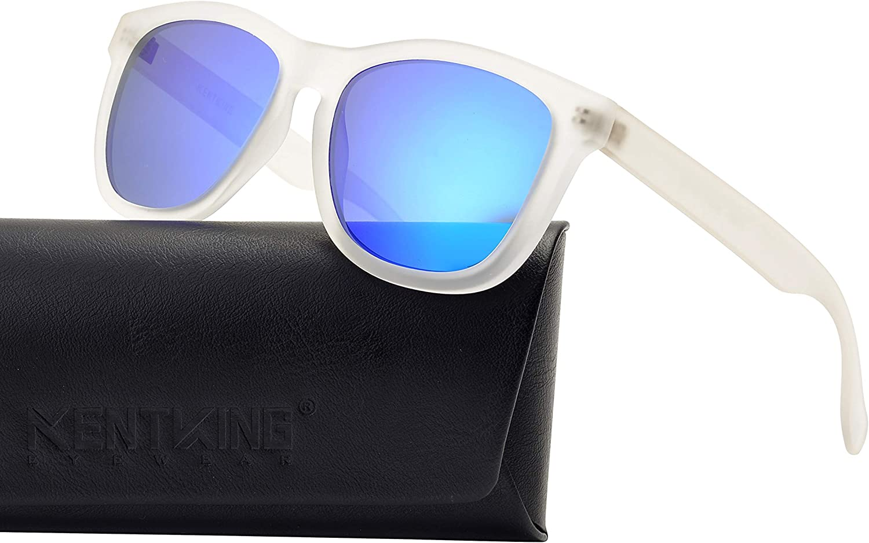 Clear Frame Sunglasses Polarized Wayfarer Lightweight Square Iridium Beach Sport UV400 Retro Unisex (Matt Clear Royal bluee)