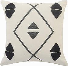 "LR Home Gray Tufted Geometric Throw Pillow, 20"" x 20"", Cream/Black"