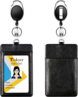 Teskyer 2 Value Pack Leather Badge Holders and Heavy Duty Retractable Badge Reels Set, Vertical Premium ID Card Holders with 2 Card Slots, 24 inch Kevlar Cord with Carabiner Reel Clip