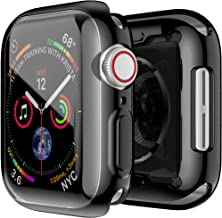 Smiling Case for Apple Watch Series 4 & Series 5 with Buit in TPU Clear Screen Protector 44mm- All Around Protective Case High Definition Clear Ultra-Thin Cover for Apple watch Series 4/5 44mm (black)