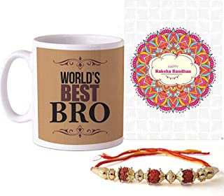 TIED RIBBONS Raksha Bandhan Rakhi for Brother - Best Gifts for Brother Rakhi Coffee Mug with Wishes Card