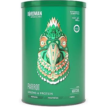 Birdman Parrot Greens & Protein Super Alimento, Colacion De Verdes + Proteina En Polvo (Vegana) Certificado Kosher, Alto En Fibra Vitamina A, C, B9 30 Porciones Sabor Matcha 900gr
