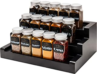 VMhouse Spice Rack Organizer for Cabinet/Countertop - Wooden Spice Rack with Glass Spice Jars and Accessories - Mordern Sp...