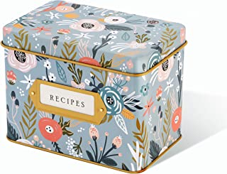 floral tin recipe box