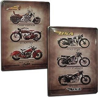 Vintage Motorrad Blechschild . Indian und BSA Vintage Schild. Set mit 2 Blechschildern/Blechschilder, Retro Stil, für Wohnzimmer, Bar, Werkstatt, Garage. Maße: 20 x 30 cm.