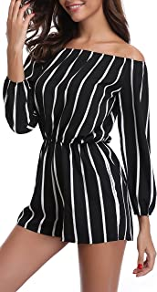 MISS MOLY Rompers for Women Boat Neck Off The Shoulder Strapless Mid Rise Casual Jumpsuit w Belt