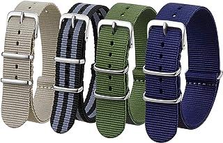 Watch Bands ,18mm 20mm 22mm Nato Watch Straps Nylon Replacement Men Women Bands (4pcs) (20mm, Khaki/Black Gray/Green/Navy)