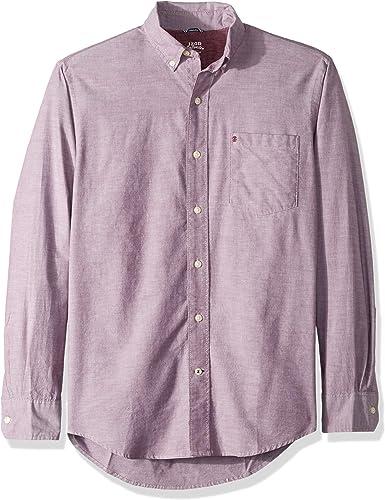 IZOD Hommes's Oxford Solid manche longue Shirt, fig, petit
