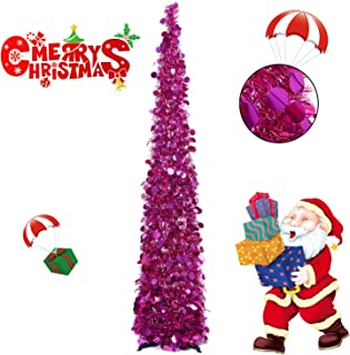 Collapsible Christmas Trees 5 Foot Artificial Tinsel Xmas Tree, Pop Up Multicolored Pencil Sequin Coastal for Holiday, Apartment, Party, Home, Office, Christmas Decorations, Fireplace–Rose Red