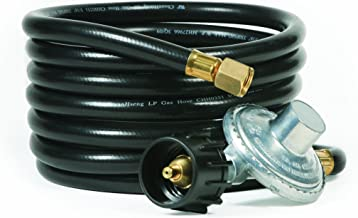 Camco Low Pressure Gas Regulator with 12' Hose 70,000 BTUs/Hr Simple and Quick Install - Use with Low Pressure Gas Fired Heaters (57721)