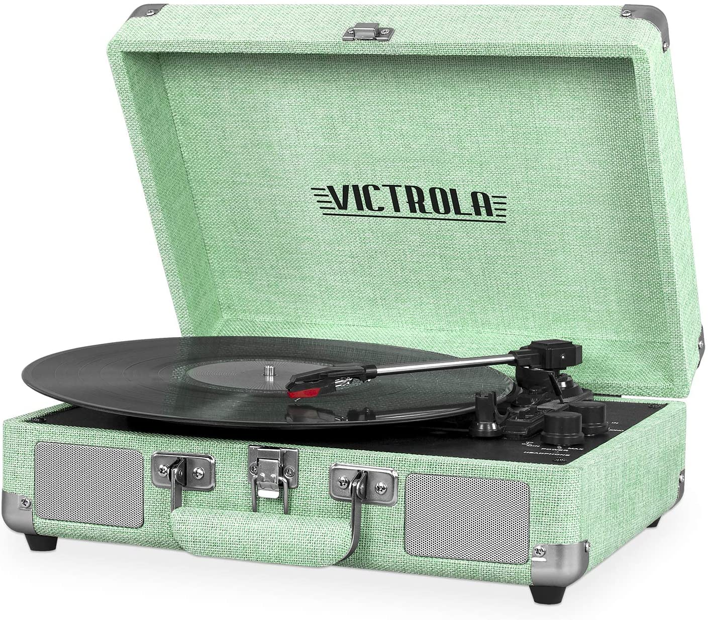 Victrola Vintage 3-Speed Bluetooth Portable Suitcase Record Player with Built-in Speakers | Upgraded Turntable Audio Sound| Includes Extra Stylus | Light Mint Green Linen