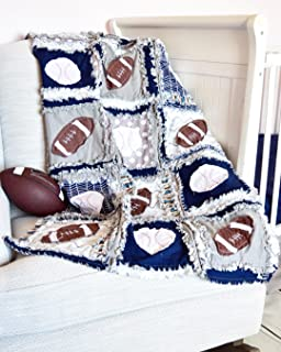 Sports Crib Quilt - Gray/Navy - Football and Baseball Baby Bedding - QUILT ONLY